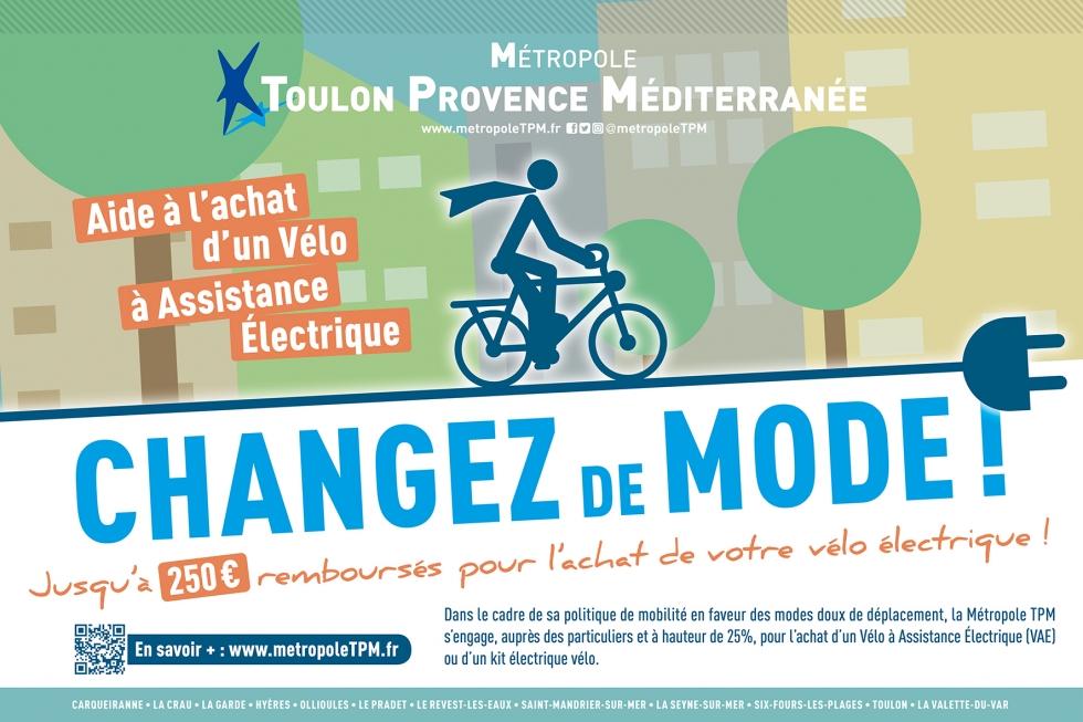 Prime à l'achat velo assistance electrique, subvention VAE Toulon