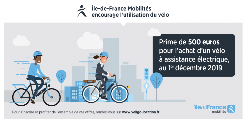 Prime à l'achat velo assistance electrique, subvention VAE Ile De France